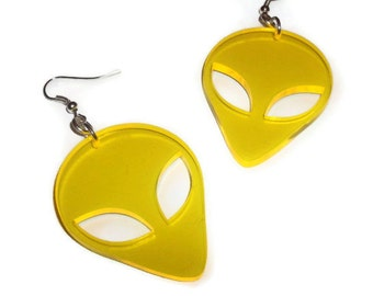 Alien Earrings, Yellow UV Retro Laser Cut Earrings, Sci-fi