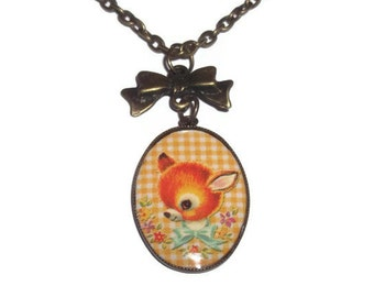 Retro Deer Necklace, Kitsch Vintage Style Baby Animal Necklace