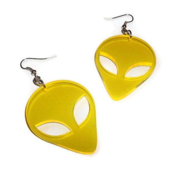 Alien Earrings, Yellow UV Retro Laser Cut Earrings, Sci-fi