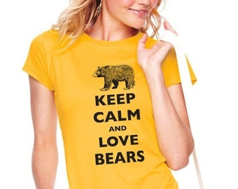 Keep Calm and Love Bears T Shirt - Soft Cotton T Shirts for Women, Men/Unisex, Kids