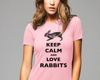 Keep Calm and Love Rabbits T-Shirt - Soft Cotton T Shirts for Women, Men/Unisex, Kids