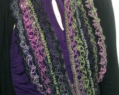 Crochet Infinity Scarf Cowl Purple Green Pink Fashion Scarf