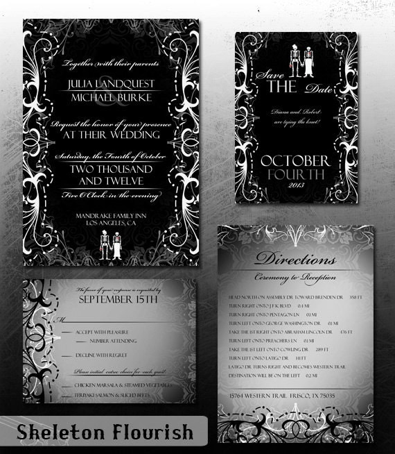 gothic wedding invitation halloween wedding invite set, Wedding invitations