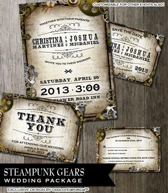 Steampunk Wedding Stationary -RSVP-Invitation-Thank You-Save the Date-- with multiple gears on distressed parchment paper faux background.
