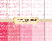 """Instant Download Sheet Music 10 Piece Digital Scrapbooking Paper Pack, 8.5""""x11"""", 300 dpi .jpg Shabby Chic Pinks Valentines Day"""