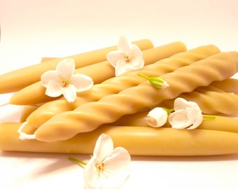 Beeswax Candles -4 Sets of 8 in Smooth or Spiral Taper Candles 100% Beeswax Candles (EACH BURNS for 10 HOURS)