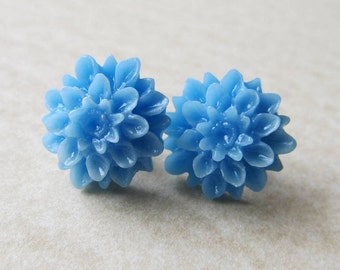 Post Stud Earrings - Sky Blue Resin Dahlia Flowers - Sterling Silver Plated Posts (G-2)