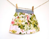 Girls Garden Party Skirt / Vintage Fabric / Rose Garden / Made to Order / 12 months to 10 year old - weestitchery