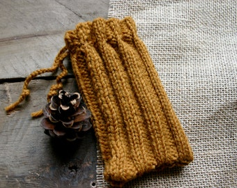 Phone Knitted Cozy- Golden Brown- Ribbed- Knit Pouch