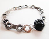 Bicycle Chain Rose Bracelet - Recycled Jewelry - eco gift - bike - innertube - black