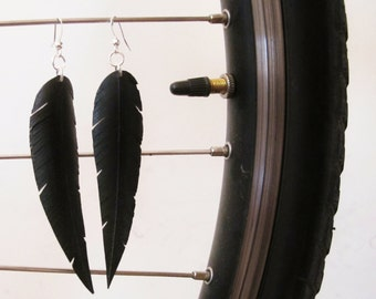 Bicycle Innertube Feather Earrings - Recycled Jewelry - handmade - bike - black