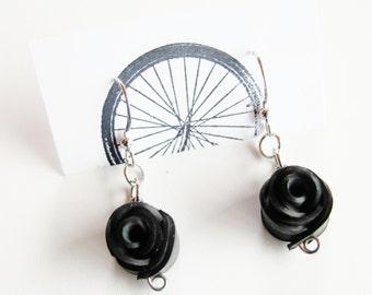 Black Rose Earrings - Recycled Jewelry - eco friendly - handmade - bike - bicycle - innertubes