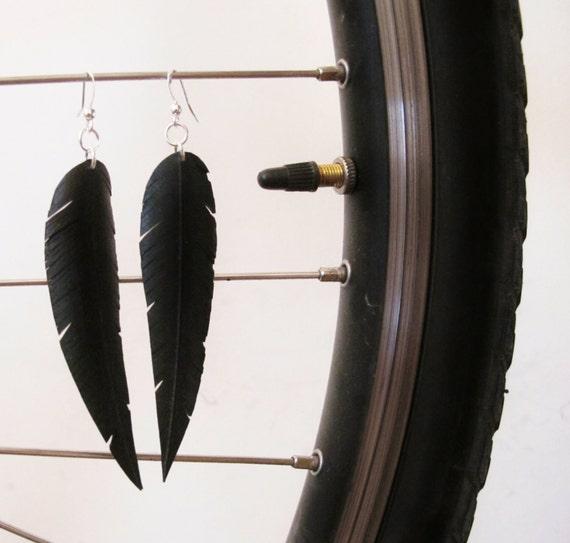 Bicycle Innertube Feather Earrings - Recycled Jewelry - handmade - bike - black
