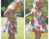 REVERSIBLE CRISS CROSS pinafore dress with matching bloomers - floral & dot fabric - baby, toddler, girls