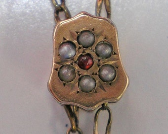 ON SALE Gold Plate Watch Chain and Slide with 6 gray Pearls and one Red Stone Item No: 15782