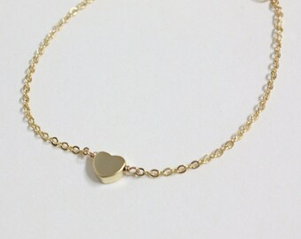 Bridesmaid gifts - Set of 7, 8, 9 - Golden tiny heart simple bracelet