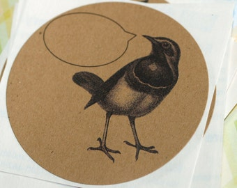 BIRDS of a FEATHER ... Set of 9 Stickers . Kraft . Label . Self Adhesive . Round . Captioned Critters . Hummingbird . Crow . Dodo . Songbird