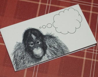 MEDITATIVE MONKEY ... Mini Notecards . Set of 5 . Handmade Envelopes . Captioned Critters . Quirky . Chimp . Gift Cards . Folded Notes