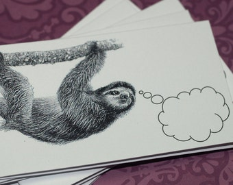 SOUL-SEARCHING SLOTH ... Mini Notecards . Set of 5 . Handmade Envelopes . Captioned Critters . Quirky . Weird . Gift Cards . Folded Notes