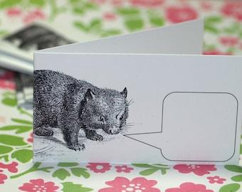 WELLSPOKEN WOMBAT ... 5 Mini Notecard Set . Australian . Furry Animal . Captioned Critters . Gift Cards . Folded Notes . Handmade Envelopes
