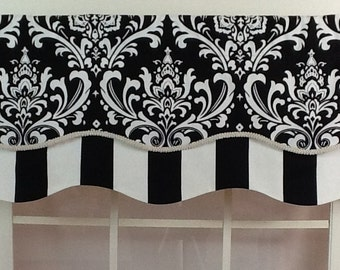 Damask layered shaped valance in black , navy or grey with trim