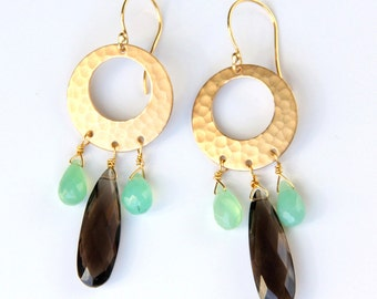 Smoky Quartz & Chrysoprase Earrings, Hammered Gold, Drop Earrings, Brown, Mint Green Gemstones