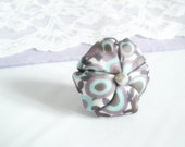 Teal blue purple ring fabric flower - ready to ship
