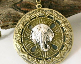 Elephant Jewelry Steampunk Locket Large Brass Locket Long Chain Elephant Locket Gift for Her Original
