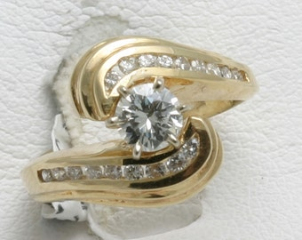 Vintage Diamond Engagement Ring 3/4 carat round 14k yellow gold swirl channel set