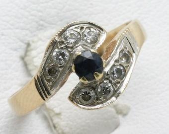 Estate 14k yellow white gold Blue Sapphire CZ Swirl ring Vintage