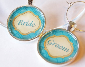 Wedding Wine Charms, Bride Groom, Teal, Wine Charms, barware, Wedding Shower, wedding reception, silver plate (2020)