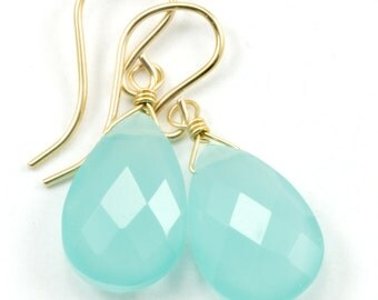 Aqua Blue Chalcedony Earrings 14k Gold Filled or Sterling Silver Teardrop Pear Shaped Faceted Soft Pale Blue Natural Dainty Everyday Drops