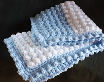 Blue and white..handmade extra thickness crochet baby blanket/shawl. Ideal Christening / shower /new baby gift.