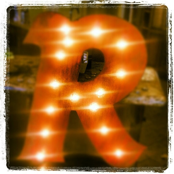 "24"" Vintage Marquee Letter or Number Lighted Wood.... A B C D E F G H I J K L M N O P Q R S T U V W X Y Z"