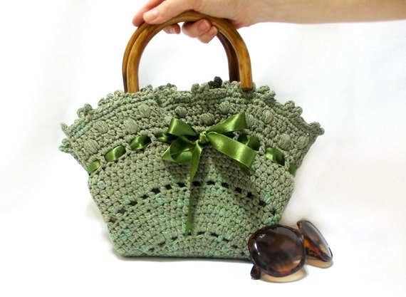 Handmade Crochet Handbags : Crochet bag, Handmade tote bag, Midi Bag, Purse, Green handbag, Medium ...