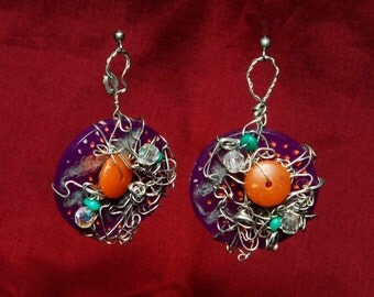 OOAK Funky Hipster Purple Circle Wire Wrapped Dangles