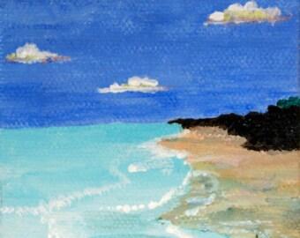 Fair Weather Clouds,Ubiquitous Beach  small original acrylic painting 3x3 canvas