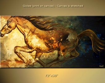 "Contemporary Abstract Horse Print Stretched Ready to Hang & Embellished  Free Shipping by Osnat  60""x30"""