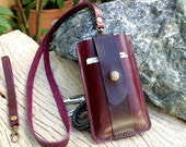 Iphone5 / Choc purple leather wallet for with wristlet strap and Neck strap