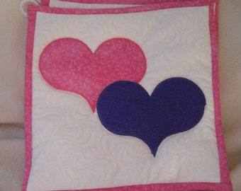Quilted Appliqued Pink & Purple Heart Potholders - Set of 2 - HANDMADE BY ME