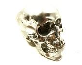 steampunk skull, skulls, chrome, metallic silver, mod home decor, skull art