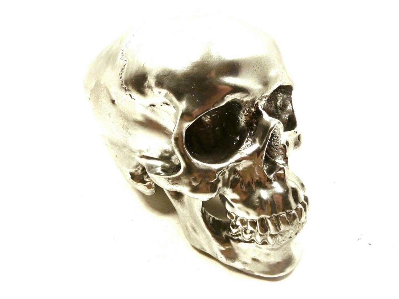 Mod Home Decor Skull Chrome Metallic Silver Decor By Skullpops