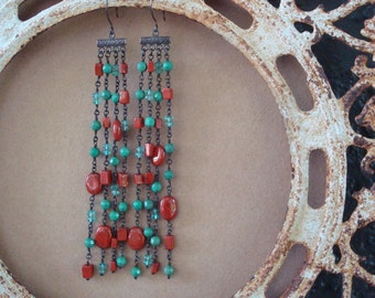Turquoise Red Jasper and Apatite Earrings Shoulder Duster Dangles Tasseled Thumbing One's Nose at Newton Defying Gravity Asymmetrical