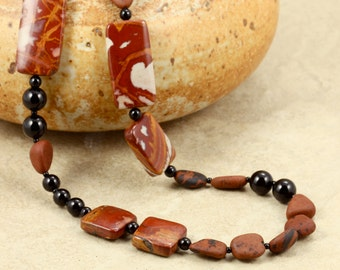 Jasper and Onyx Necklace with Sterling Silver, Strand Necklace, Noreena Jasper, Black Onyx, Dark Red
