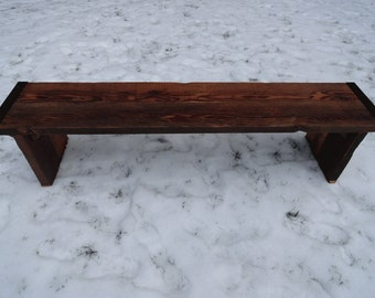 Custom 2 ft Industrial Bench with wood legs