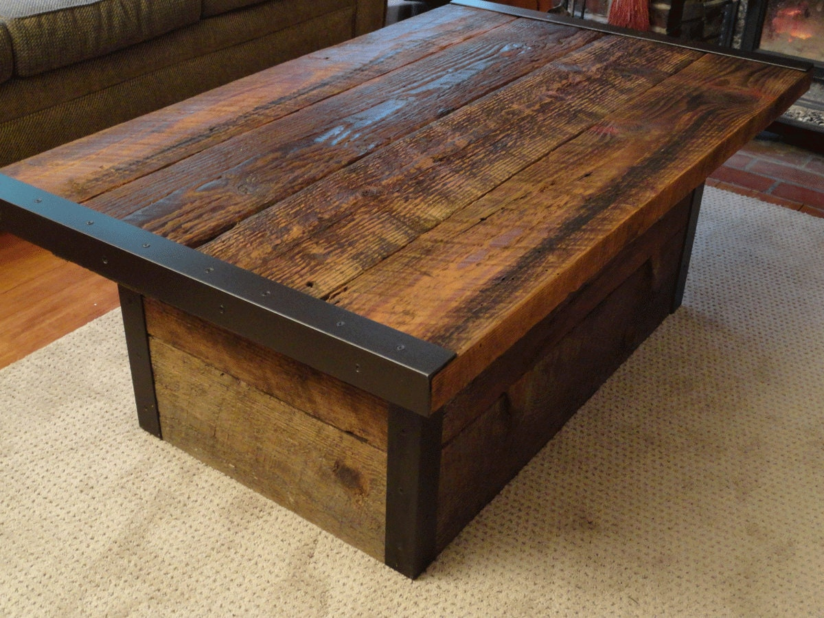 Industrial coffee table with usable trunk by mthoodwoodworks Coffee table top ideas
