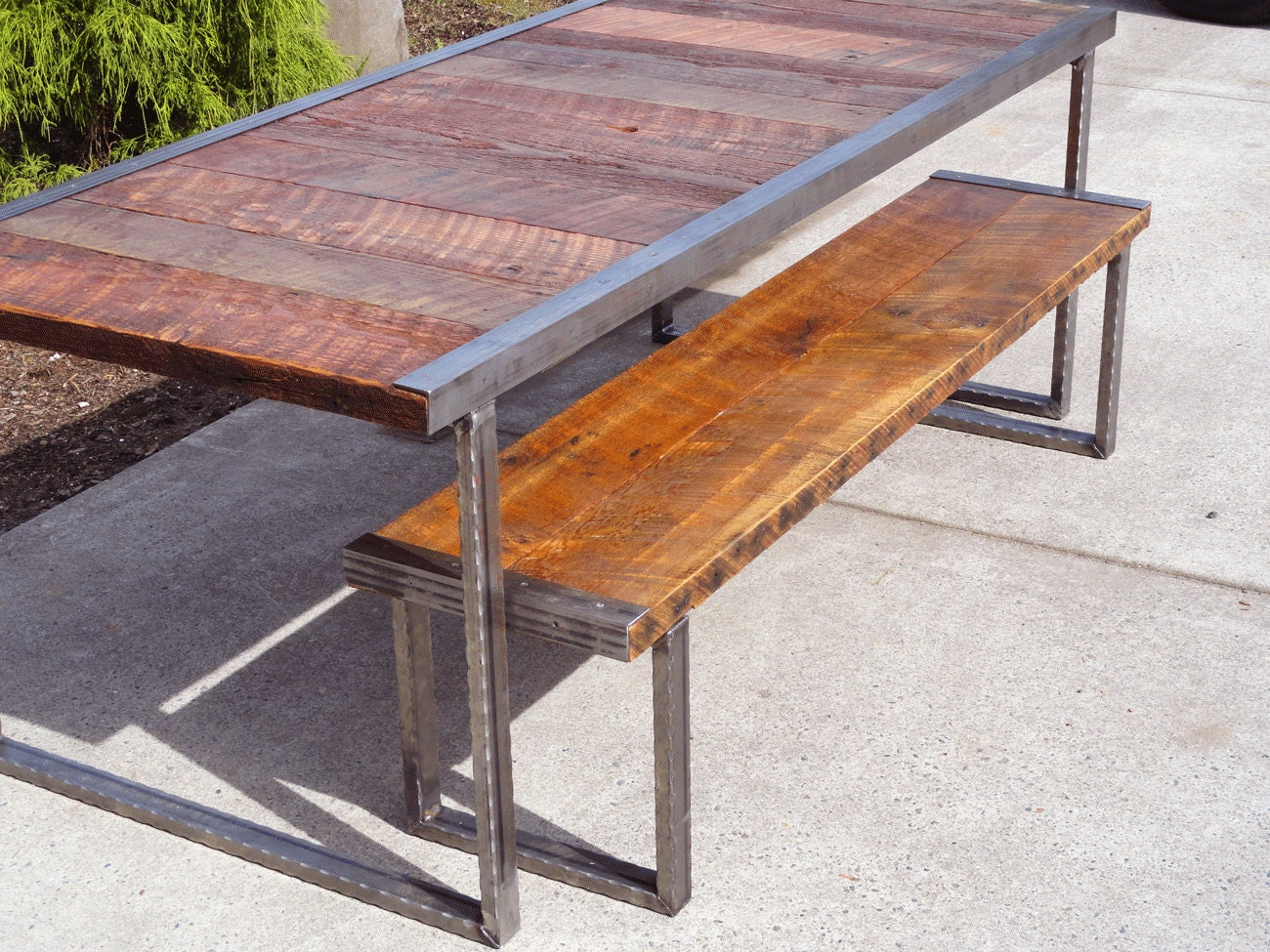 Superb img of ft Industrial Dining Table with Rectangular by MtHoodWoodWorks with #9C5D2F color and 1300x975 pixels