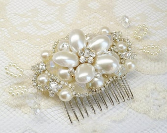 Bridal Hair Comb- Vintage Hair Piece- Pearl Hair Comb- Bridal Hair Clip- Wedding Hair Accessories- Bridal Hair Accessories- Fascinator