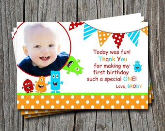 Custom Little Monster 1st 2nd 3rd Birthday Thank You Card   - You Print
