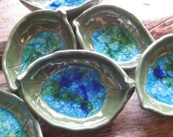 Recycled Glass Green Pottery Leaf / North Carolina Pottery by Dawn Tagawa / Decorative Pottery Tray